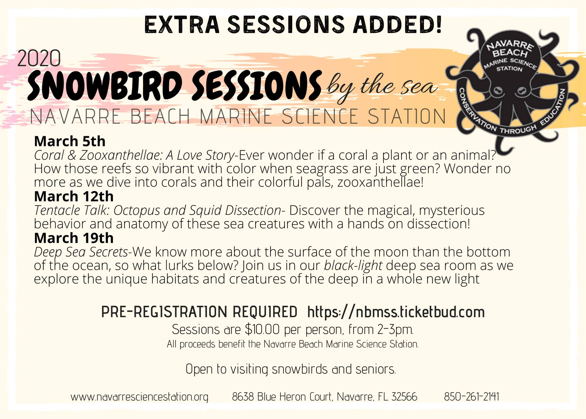 Snowbird Session flyer for extra sessions
